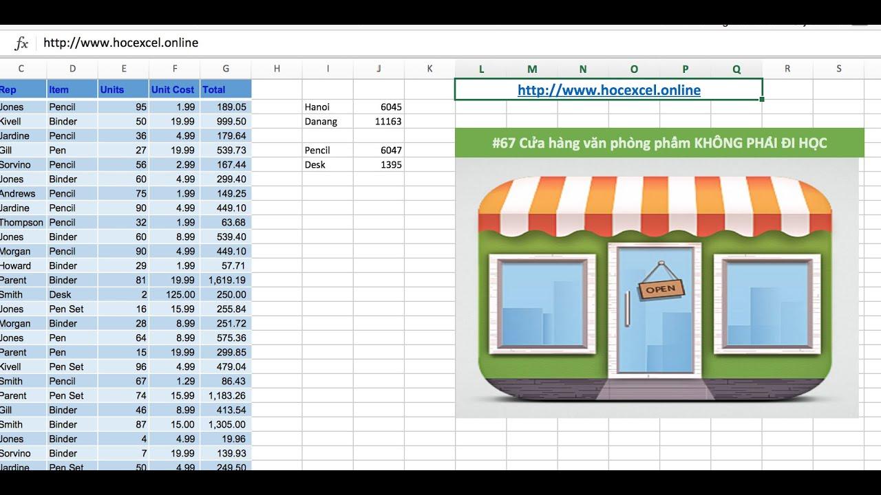 Học Excel online 67 | Hướng dẫn lọc dữ liệu trong EXCEL theo Database bằng SQL