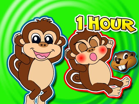 Five Little Monkeys Jumping On The Bed + Plus More = 1 Hour Kids Compilation, Cartoon Nursery Rhymes