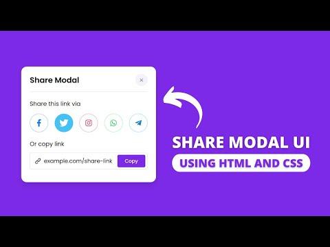 Popup Share Modal Ui Design Using Html Css & Javascript