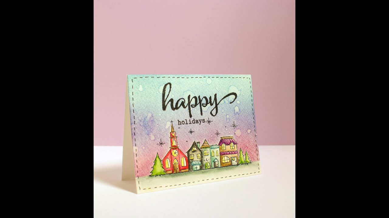 Cardmaking Tutorial Holiday Card With Distress Ink Scene