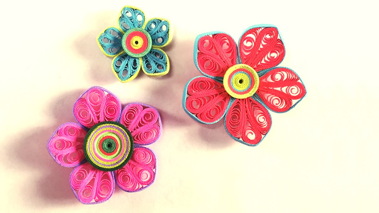 How To Make Beautiful Flower Design Using Paper Art Quilling Paper