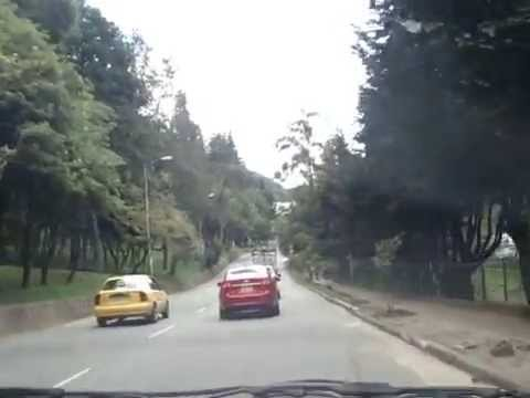 Driving through Bogota Colombia South America in taxi