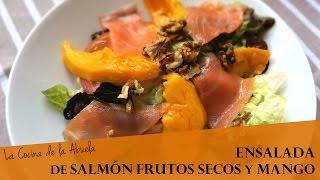 Ensalada de salmón, frutos secos y mango  La Cocina de la Abuela