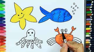 How to draw sea animals 💦| Colors for children | How to color | Drawing for children | Learn colors