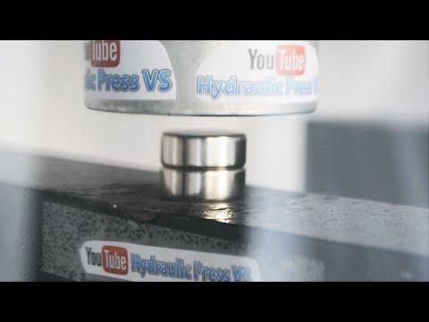 Neodymium Magnets vs Hydraulic Press - Magnetic Explosion