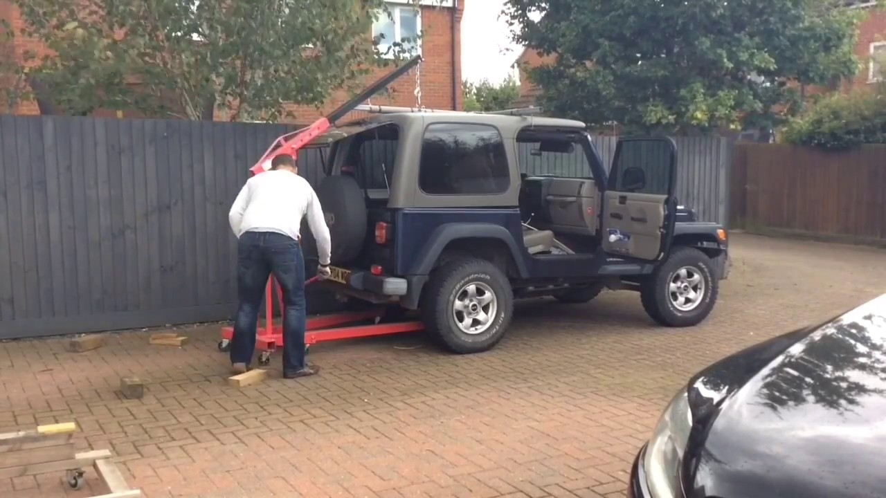 Jeep Wrangler Tj Hardtop Placement With Engine Crane Youtube