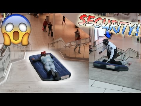 MATTRESS SLIP N SLIDE AT THE MALL! (TACKLED BY SECURITY)