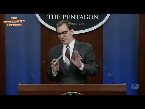 Awkward: Pentagon Press Sec visibly uncomfortable after bizarre question.