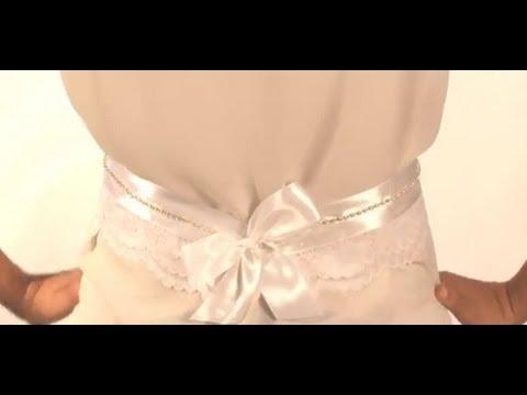 debef0bbe كيف نصنع حزام لفستان العرس - YouTube