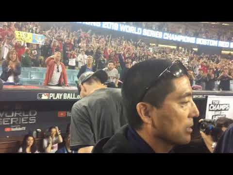 Chris Sale yells to Boston Red Sox fans after winning 2018 World Series at Dodger Stadium, Oct. 2...