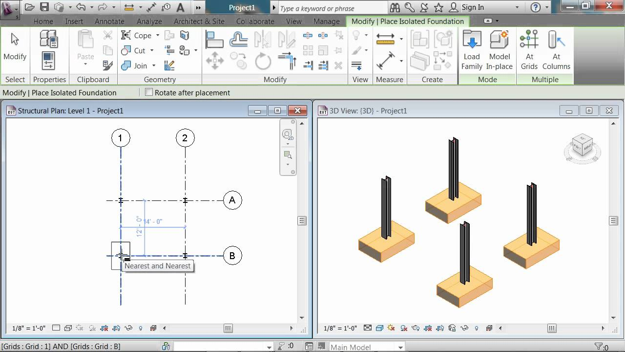 Revit Structural 2012 Isolated Footing At Column Youtube