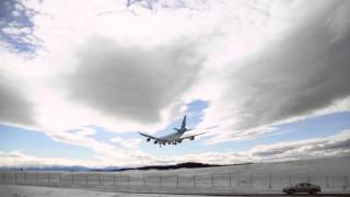 Korean Air Cargo Boeing 747 landing Anchorage Airport, Alaska, watch HD and Full Screen