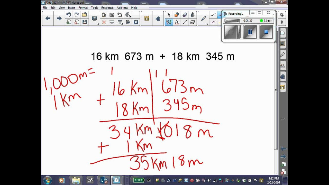 medium resolution of Adding and Subtracting Metric Units of Measurements - YouTube
