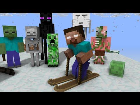 Monster School: Skiing - Minecraft Animation