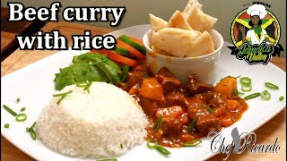 Jamaica Beef curry with rice !! From Chef Ricardo Cooking
