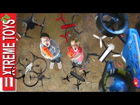 Attack of the Drones! Nerf Battle Ethan and Cole Vs. Rogue Machines