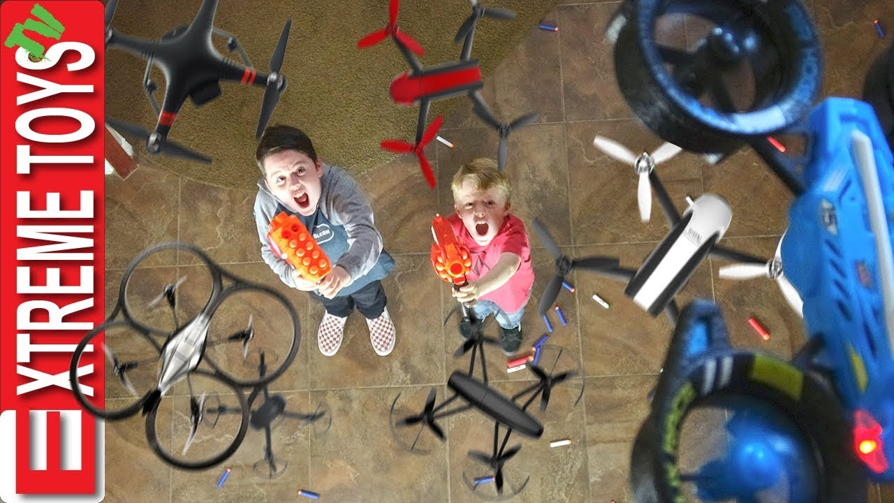 Attack of the Drones! Nerf Battle Ethan and Cole Vs. Machines