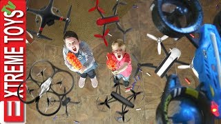 Attack of the Drones Nerf Battle Ethan and Cole Vs. Machines