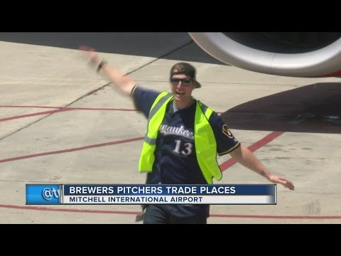 Milwaukee Brewers trade places with airline workers