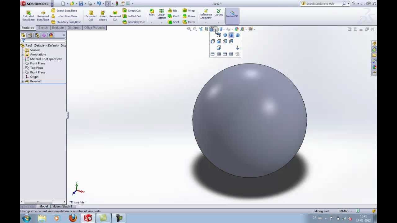 Solidworks Tutorial Learn How To Make A Ball Sphere In