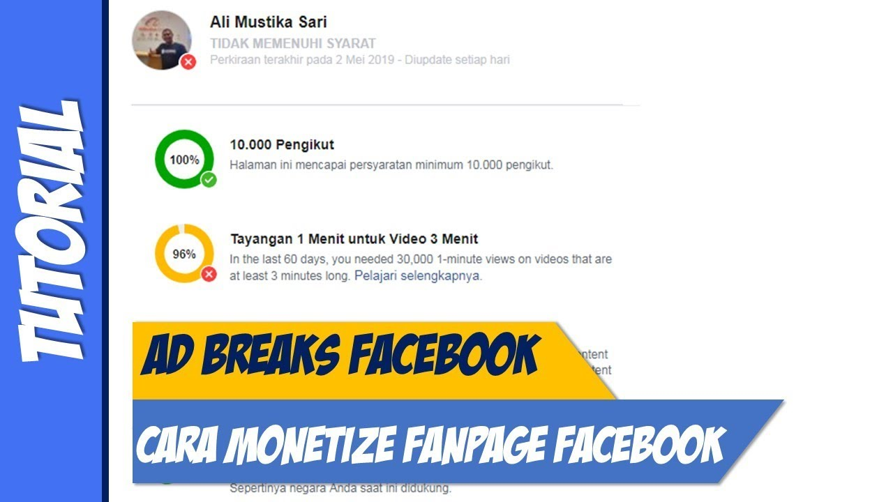 cara monetize video facebook tutorial ad break pemula