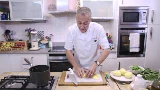 Elfe Potato Broth with Chicken Crackling by Michel Roux Jr.