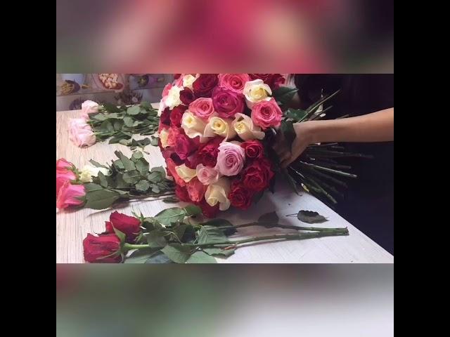 Сборка букета из 101 розы