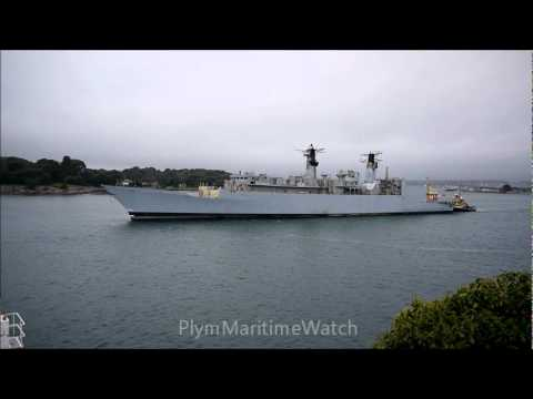 A Type 22 frigate leaving Plymouth for scrapping