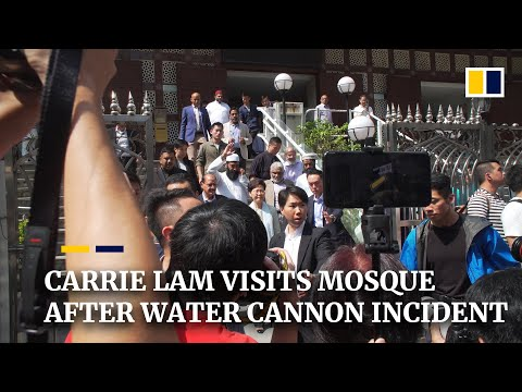 Hong Kong leader Carrie Lam visits Kowloon Mosque after water cannon incident at weekend protests