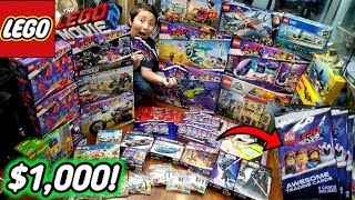 OVER $1,000!! HUGE LEGO HAUL FROM THE LEGO STORE & WALMART!! NEW LEGO MOVIE 2 CARD BOOSTER PACKS!!