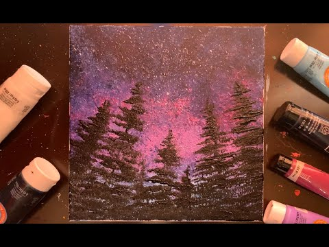 How to paint northern lights landscape   Abstract Painting   Texture Art   Step by Step demo   #134
