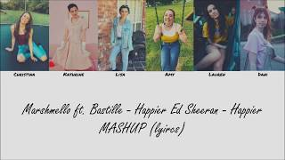 Cimorelli || Marshmello ft. Bastille - Happier Ed Sheeran - Happier MASHUP ( color coded lyics)