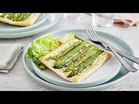 recette-facile-de-tartes-feuilletées-chèvre-asperge-à-l'estragon