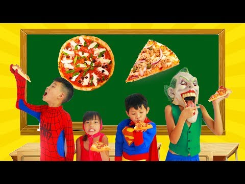 Thumbnail: School colors Superman Fishing Spinner in Classroom w/ Spiderman paint Geometry PIZZA Learn Color