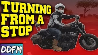 How To Turn FROM A STOP On Your Motorcycle / CBT Module 1 Motorcycle Test Techniques