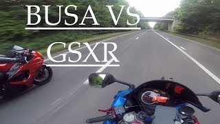 PULLED BY POLICE : Hayabusa vs GSX-R 750.