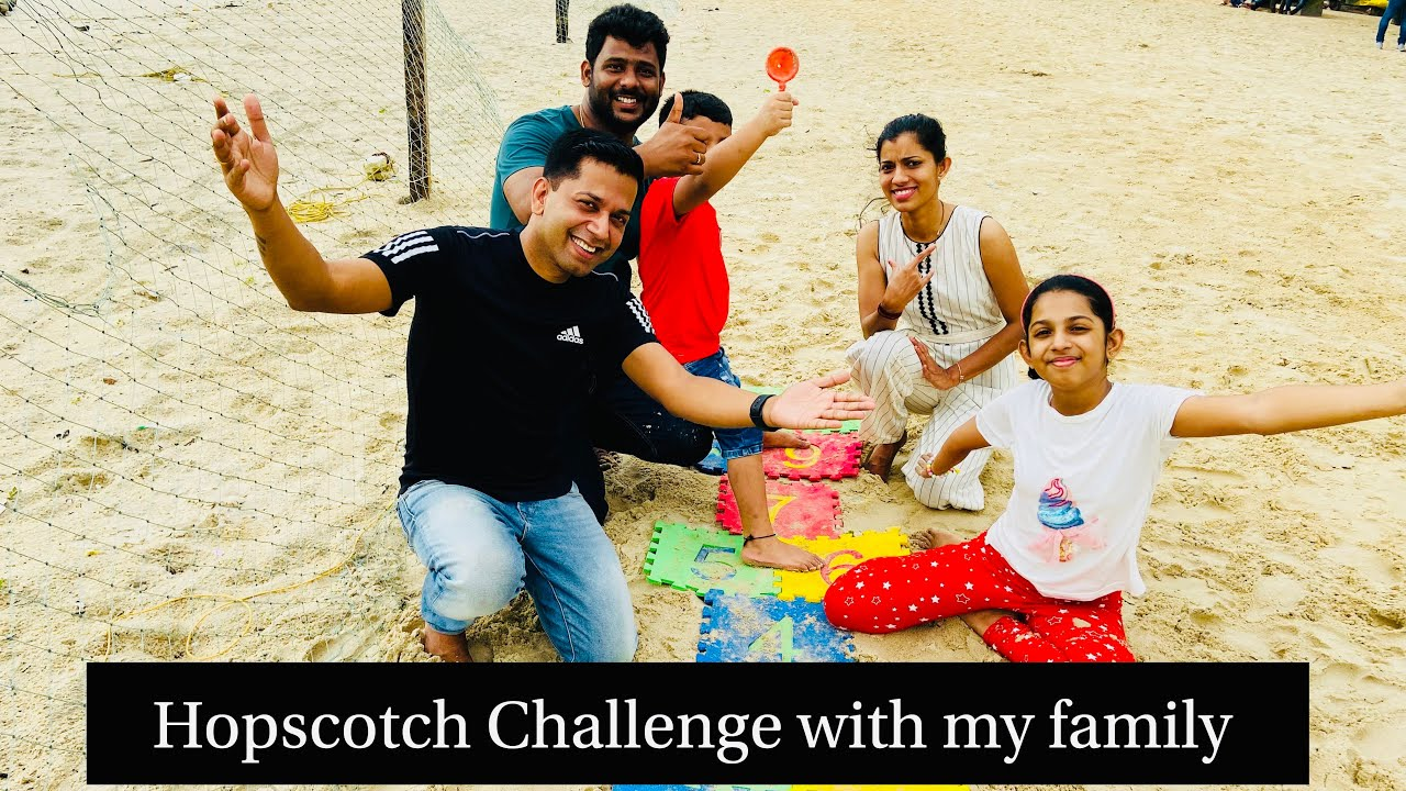 Hopscotch challenge with my family   Hopscotch challenge in the beach   Kids challenge