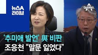 """'추미애 발언' 여권서도 비판…조응천 """"말문 잃었다"""" …"""