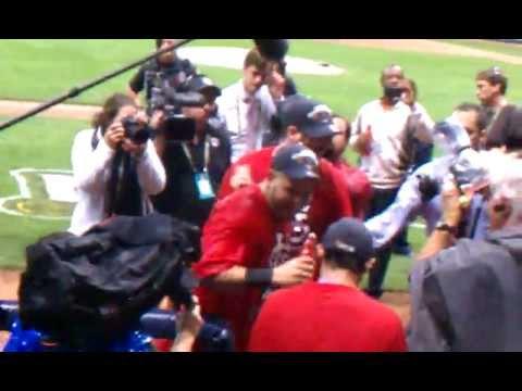 2011 NLCS Game 6 St. Louis Cardinals Celebrate 3/3