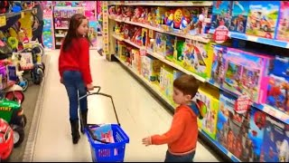 Kids Shopping at Toys 'R' Us  Having Fun with Toys