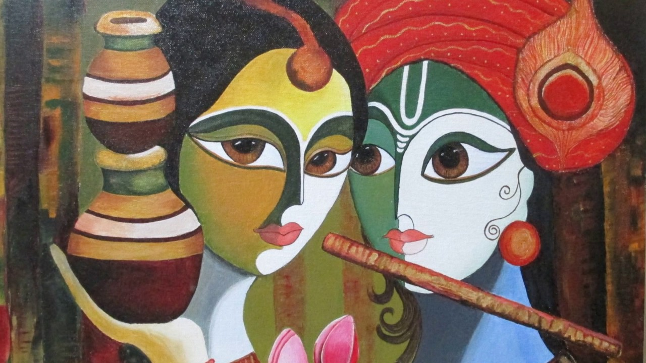 Radha krishna canvas painting youtube for How to make canvas painting