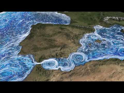 Ocean Current Flows around the Mediterranean Sea and Atlantic