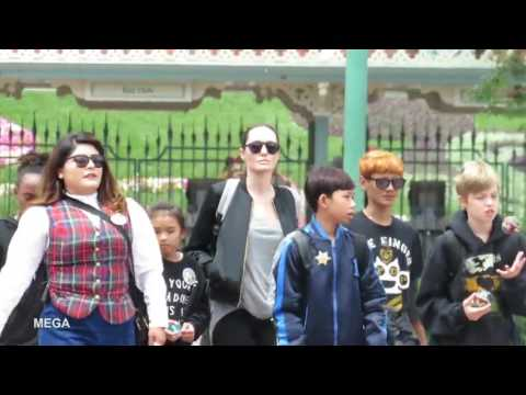 Angelina Jolie with her children at Disneyland