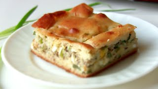 Быстрый пирог рыбный с зеленым луком от VIKKAvideo-Простые рецепты
