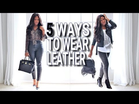 How to Style Black Leather Pants Mid Summer Fall Lookbook 8