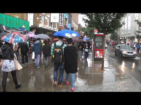(HD) Walking in heavy rain in London (on Camden Market High Street) - 24th August 2013