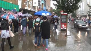 (HD) Walking in heavy rain in London (on Camden Market High Street) - 24th August 2013