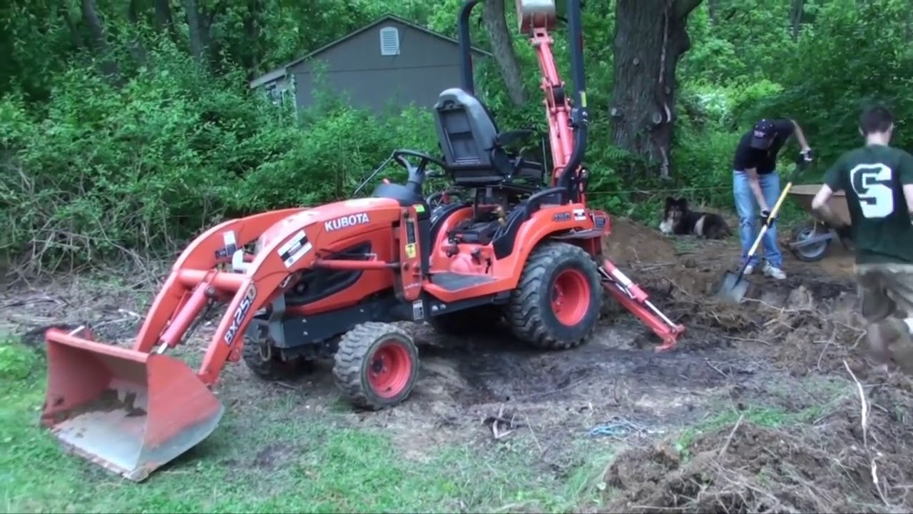 Diy Pond-Part 2-Digging Entire Pond In One Day-Kubota Bx25d In Action   Saint Max Media 27:20 HD
