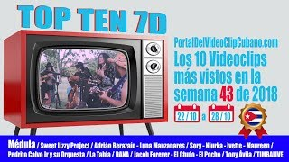 PORTAL DEL VÍDEO CLIP CUBANO * TOP TEN 7D*  SEMANA 43 / 2018
