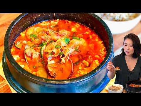 Soft Tofu Stew (sundubu-jjigae: 순두부찌개) w/ Seafood & Pork RESTAURANT-STYLE Soondubu-Jjigae + Mukbang